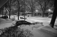 Winter's Night (caribb) Tags: winter bw snow canada blackwhite montral quebec montreal hiver snowstorm qubec neiges 2011 dwcffnight