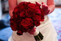 Red bouquet of flowers (eccampbell) Tags: wedding red roses bride hands bouquet callalily