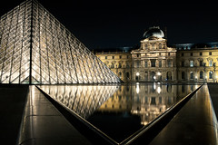 *EXPLORE* Dark Side of the Louvre (Kvinn Photographie) Tags: light reflection water museum night mirror eau louvre lumire muse reflet miroir nuit pyramide glint nivekphotographie kevinnphotographie