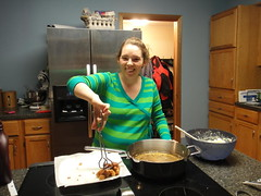 Superbowl Sunday! We made the pregnant lady work the fryer.