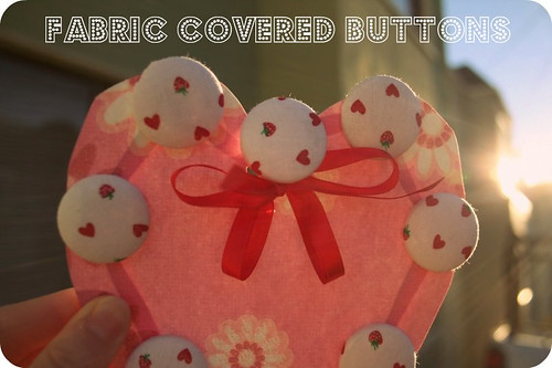 Heart & Strawberries Fabric Covered Buttons