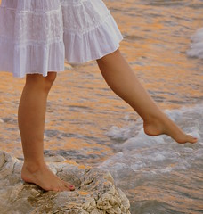 A sunset dream (Nesa_ June) Tags: sunset sea woman white feet water rock foot dress legs sweet shore knees finders jonian himare