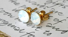 Swarovski Earrings White Opal Gold Round Diamonds