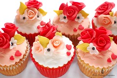 Happy Valentine's Day 2011 (Little Cottage Cupcakes) Tags: wedding red roses cupcakes anniversary peach valentines valentinesday littlecottagecupcakes