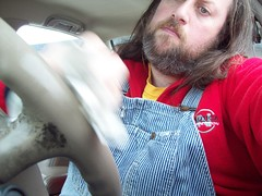 Scrubbin' the car (Jaquandor) Tags: car vintage cleaning lee overalls hickorystripe