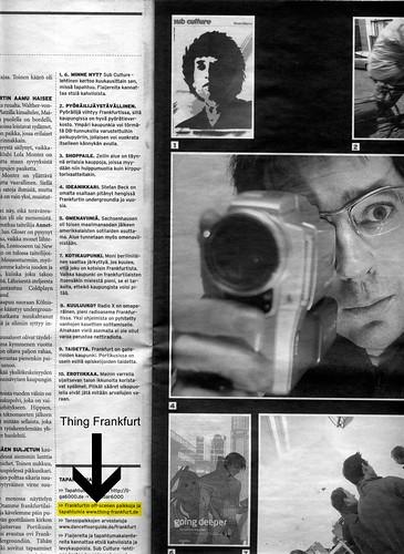 Seite aus dem finnischen  Valo Magazin Helsinki über Frankfurt. Dezember 2005
