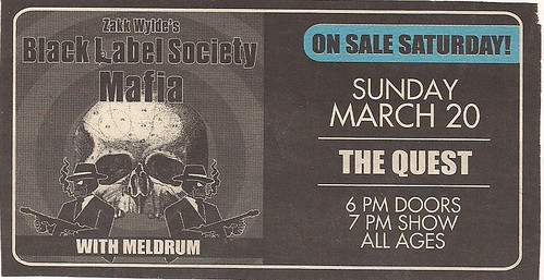03/20/?? Black Label Society/Meldrum @ Minneapolis, MN