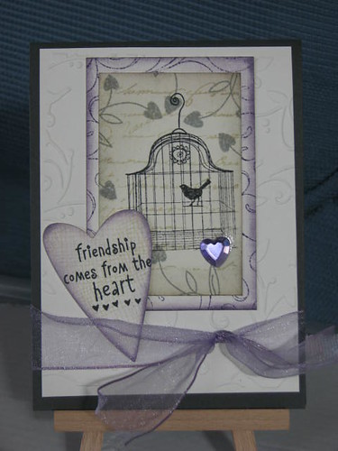 Friendship comes from the heart. used the stamps from HERO ARTS: sentiment, heart flowers CL 157 many hearts. Flourish background envelope pattern birdcage
