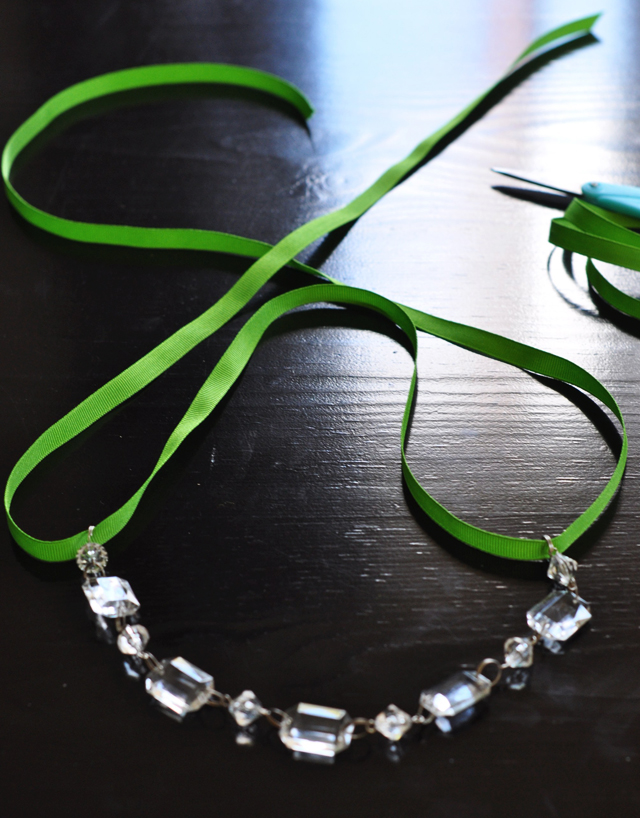 Crystal & Grosgrain statement Necklace DIY