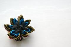 Kanzashi - Azalea (cuttlefishlove) Tags: flower japan japanese petals brooch silk craft ornament folding hairclip kanzashi fascinator hairornament habotai habotae
