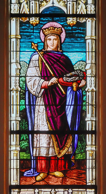 Saint Joseph Roman Catholic Church, in Louisiana, Missouri, USA - stained glass window detail of Saint Louis IX