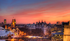 London Sunset (TheFella) Tags: city uk greatbritain bridge blue sunset red england sky urban orange sun building slr london tower clock water westminster yellow thames clouds digital photoshop canon reflections river landscape eos photo high lowlight europe cityscape dynamic unitedkingdom capital landmarks housesofparliament bigben landmark clocktower photograph processing gb dslr range riverthames hdr highdynamicrange hungerfordbridge urbanlandscape palaceofwestminster postprocessing 500d londonlandmarks photomatix londonsunset sunsetoverlondon