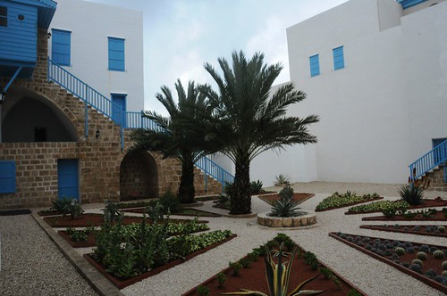 Courtyard with stairs to Pilgrim reception