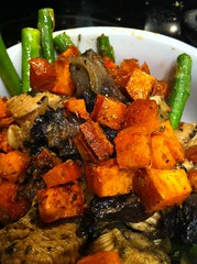 Chicken with Portabellos, Roasted Asparagus and Sweet Potatoes