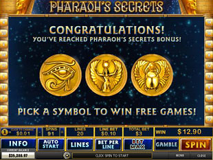 free Pharaoh's Secrets slot bonus game