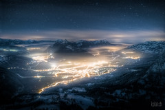 * Rotenfluh * (dmkdmkdmk) Tags: winter snow mountains alps fog night clouds dark stars landscape switzerland hdr schwyz rotenfluh schwyzrotenfluhnebelnacht