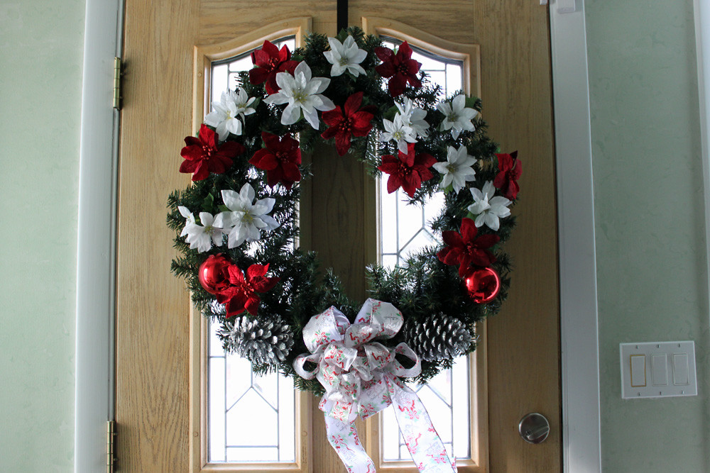Large Artificial Evergreen Christmas Wreath with Red and White Poinsettia