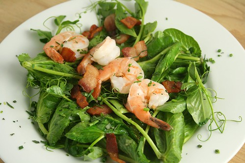 Pea Shoots with Shrimp, Bacon, and Chives