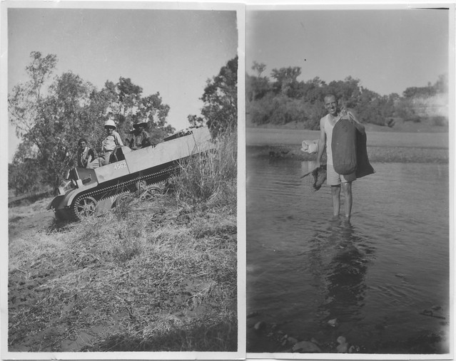 1944 Ord River Irrigation Scientific Surveys - Bren Gun Carrier used & Entomologist Clee Jenkins crosses the Ord River
