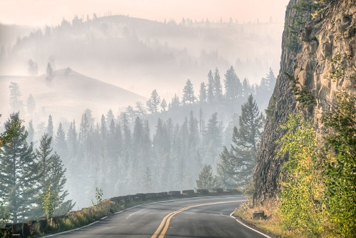 Smoky Drive Through Yellowstone