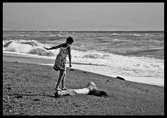 A Light Moment Inside a Dream (ColdSummerPics) Tags: sea blackandwhite bw beach girl monochrome monocromo words poetry mare waves wind bn poesia spiaggia collaboration biancoenero vento ragazza onde salvobombara marcotalotta