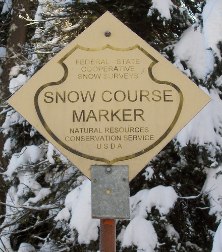 This sign is posted at all officials snow course sites.