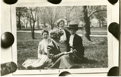 An unidentified woman (possibly Alice Haskins) sitting with U.S. Department of Agriculture, Bureau o