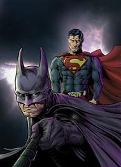 Batman & Superman (Pato Berroeta) Tags: color art illustration digital ink comics fan dc kent comic drawing bruce wayne superman fanart pato clark batman colored heroes dibujo ilustracion patricio coloreado berroeta