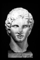 alexander the great (Csbr) Tags: bw sculpture history statue museum greek persian ancient europe december athens scan greece bust classical marble acropolis copy emperor 2010 hellenistic alexanderthegreat pentelic statuaclassica
