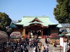 Kameido Tenjin Shrine's Main Hall (Rekishi no Tabi) Tags: japan tokyo  shinto edo plumblossoms  kotoku  umeblossoms  shintoshrines kameidotenjinshrine