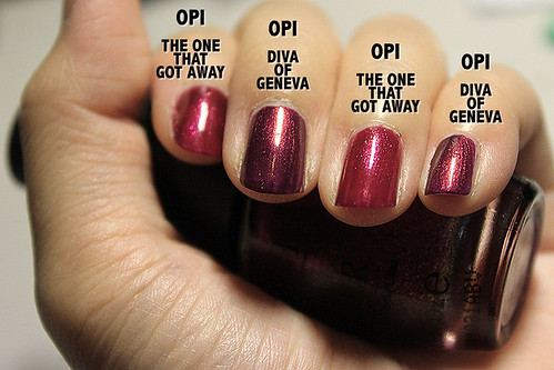 OPI The One That Got Away vs OPI Diva of Geneva