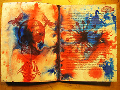 shrinking zenith:  an altered book 15 (mindbum) Tags: blue red england color art yellow writing altered word skeleton skull book words purple bright amphibian canterbury rubber frog stamp octopus splatter zenith shrinking