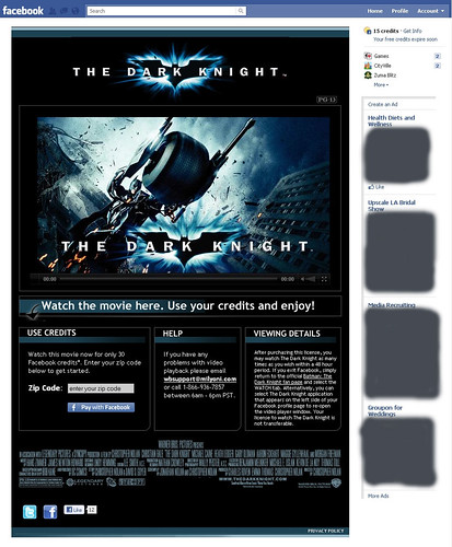 The Dark Knight film will play on Facebook