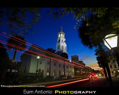 Doin the Charleston! (Sam Antonio Photography) Tags: nightphotography sunset usa sc church night america canon catchycolors aperture cityscape dusk vibrant south southcarolina streetphotography depthoffield charleston lighttrails bluehour stmichaels shutterspeed wideanglelens travelphotography flickrexplore americansouth photographytips southcarolinasunset canon1740f4llens canoneos5dmkii samantonio fourcornersofthelaw samantoniophotographycom charlestonphotolocation meetingandbroad