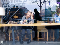 (Monsieur Marchi) Tags: woman coffee caf girl reading sweden stockholm young waynescoffee sveavgen hamngatan ricohgrd3