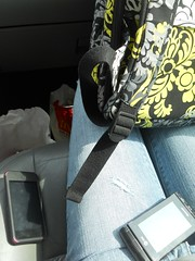 Sun through  The Car windows (Kaitlyn_Elizabeth) Tags: sun white black green bag ipod pants rip gray cellphone cell cellular mcdonalds jeans bradley backpack bluejeans vera rippedpants rips verabradley mickeyds ipodtouch