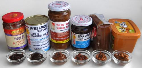 Verschillende sojabonensauzen
