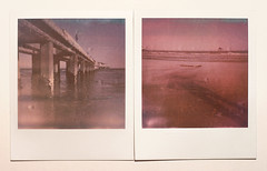 Polaroid at the Beach (pierofix) Tags: camera two color film beach water analog project polaroid sx70 see mare colours shade land push 100 asa acqua 70 spiaggia 1000 lignano impossible sx pontile pineta px pellicola supercolor analogico dittico