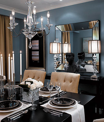 Formal blue-gray dining room: Benjamin Moore 'Cloudy Sky'