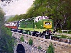 Railway Painting by Michael Land (Mike Land) Tags: york london art train painting industrial br bradford diesel fineart engine railway loco tunnel trains east transportation western locomotive preserved bachmann kingscross railways essex clacton freight britishrail oilpainting hornby nrm nationalrailwaymuseum locomotives eastanglia bittern doncaster freighttrain gwr lms severnvalleyrailway shunter grosmont northnorfolkrailway deltic britishrailways lner railart greatwesternrailway englishelectric nnr goodstrain diesellocomotive preservedrailways d9000 professionalartist nenevalleyrailway railwaysignals deltics alycidon railwayart doncasterworks midnorfolkrailway d9009 d9016 dieselloco michaelland railwaypreservationsociety preserveddiesel birminghamrailwaymuseum railwaypainting gwrpainting kiethly michaellanddeltic