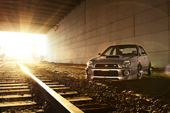 Erick's WRX Explored #12! (Justin M Morrison) Tags: road justin light sun train work canon silver big paint natural tracks turbo 7d flare morrison wrx meisters bigturbo
