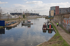 The Hackney Cut (Gary Kinsman) Tags: park urban london canal stadium olympic olympics barge renewal e9 eastlondon hackneywick london2012 londonist 2011 canalbarge canon28mmf18 canpn5d thehackneycut