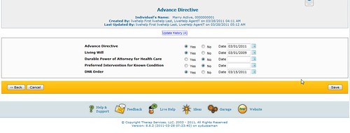 Screenshot of Advance Directive