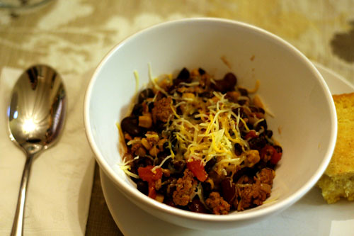 southwest style turkey chili