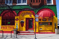 """ODGE""""s (Cragin Spring) Tags: old city red urban food chicago ice yellow french restaurant milk illinois midwest neon bright fastfood free tamales il hamburgers fries drinks hotdogs sandwiches shakes damenave odges"""