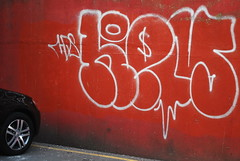 Multi-Story (Di's Free Range Fotos) Tags: park uk red england car wall concrete graffiti sussex brighton tag east dollar multistory