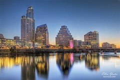Austin Skyline - Blue Hour (Ellen Yeates) Tags: street morning blue lake reflection building water skyline night sunrise canon austin river ellen colorado downtown texas 1st hour bluehour hdr austinskyline yeates austinndowntown