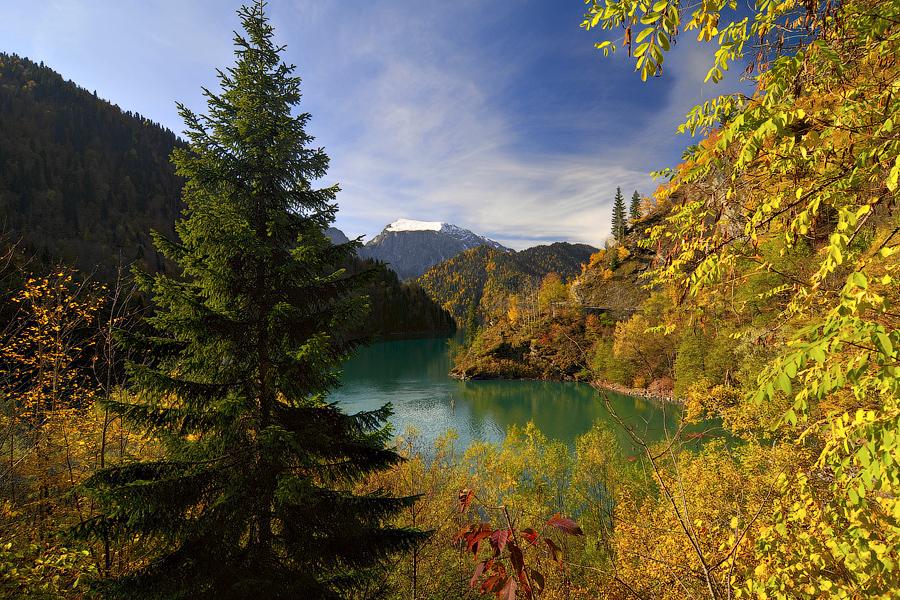 Ritsa Lake. View from Molochny Waterfall