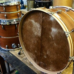 "Loving this drum set right now.. 24"", 12"", 16"" mahogany with patina copper inlays. Calf skin front head made possible by our friends at @ProfessionalDrumShop. #qdrumco #mahogany #prodrums"