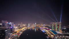 Variety Show (Mabmy) Tags: singapore lightshow mbs mbfc colors display city cityscape buildings cityhall oue casino merlionpark boats lasershow laser sony a7rii architecture voightlander 12mm